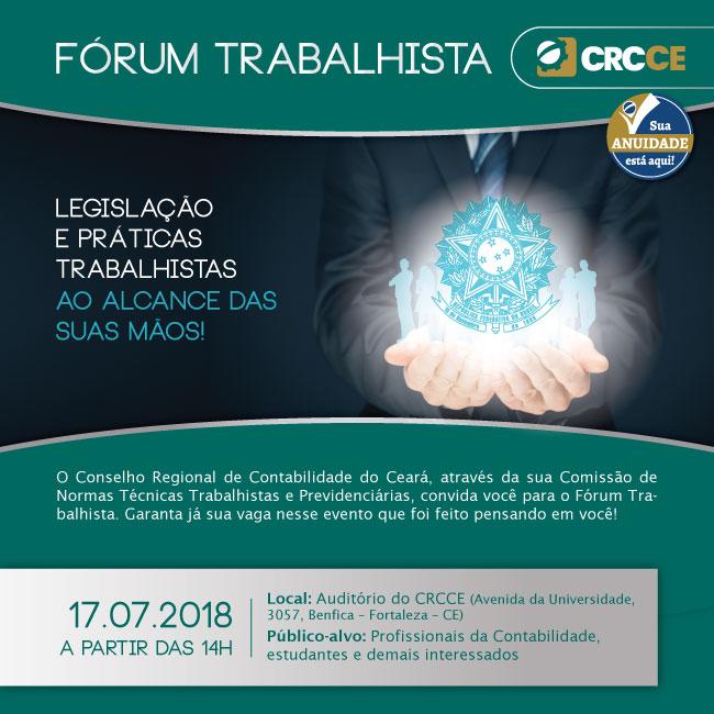 Fórum Trabalhista CRCCE – 17/07