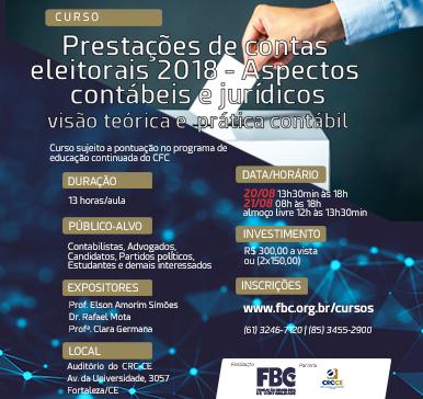 Curso: Prestações de contas eleitorais 2018 – Aspectos contábeis e jurídicos – Fortaleza/CE – 20 e 21/08/2018