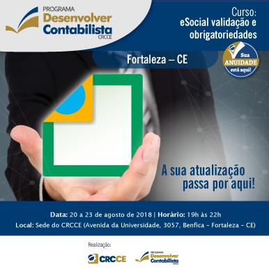 Curso: eSocial validação e obrigatoriedade – Fortaleza – 20 a 23 de Agosto