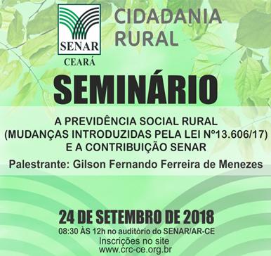 Seminário: A Previdência Social Rural – 24/09/2018 – Fortaleza