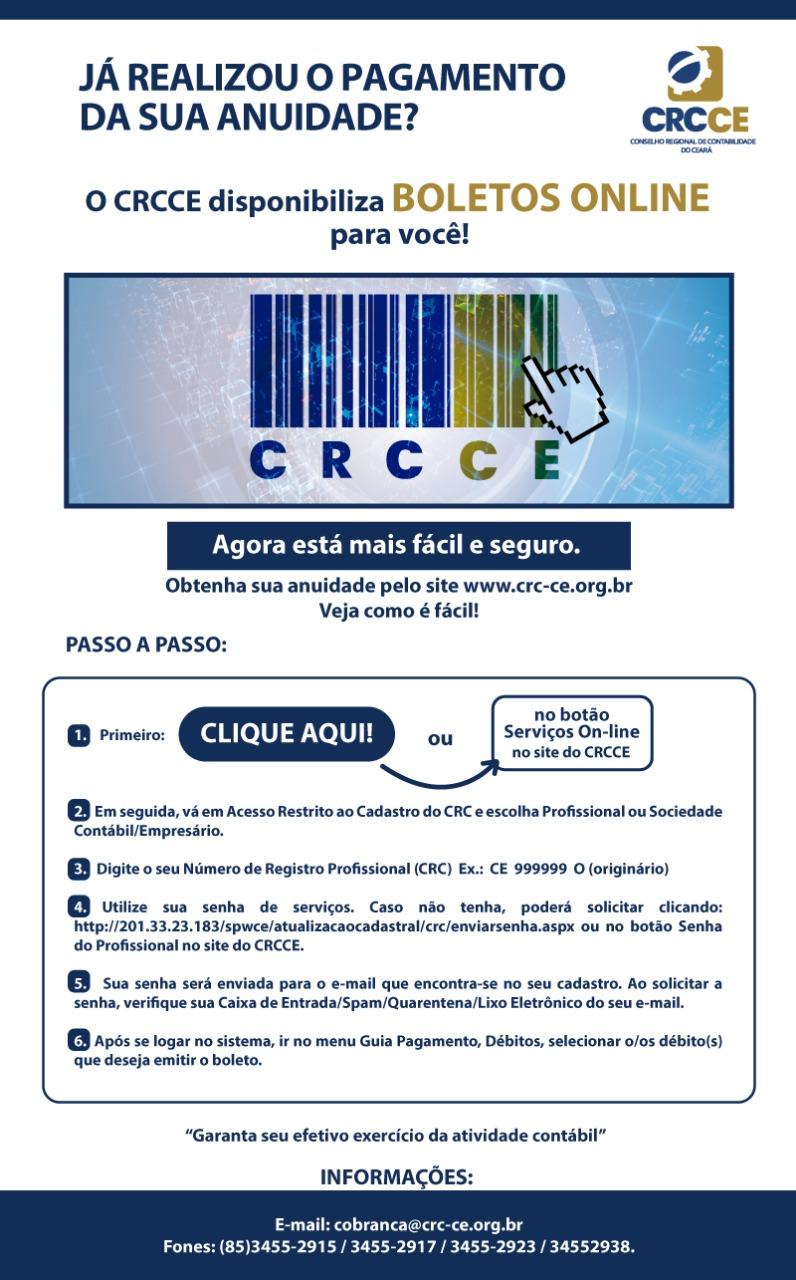 CRCCE disponibiliza boletos on-line