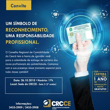 CRC-CE: Solenidade entrega de identidade contábil – 26/10/2018