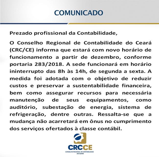 CRC-CE: Comunicado novo horário de funcionamento a partir de Dezembro 2018