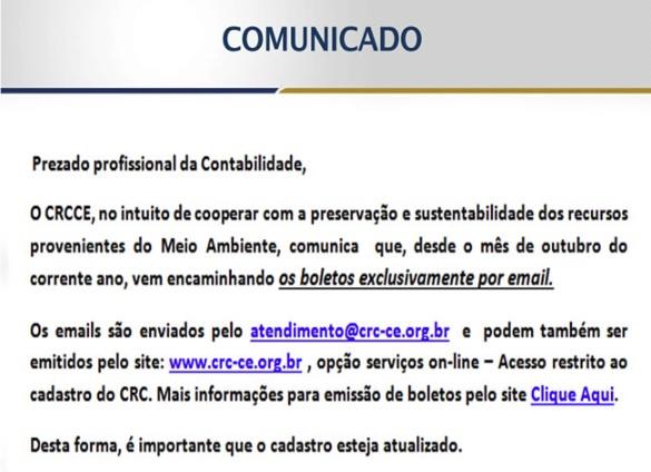 Comunicado CRCCE – Boletos enviados exclusivamente por Email e emitidos pelo Site