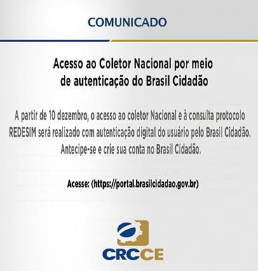 Comunicado – Acesso ao Coletor Nacional por meio de autenticação do Brasil Cidadão