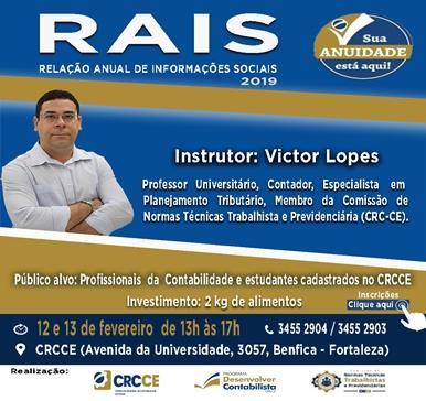 Curso: RAIS – Relação Anual de Informações Sociais 2019 – 12 e 13/02/2019 – Fortaleza