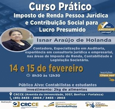 Curso Prático IRPJ e Contribuição Social para Lucro Presumido – 14 e 15/02/2019
