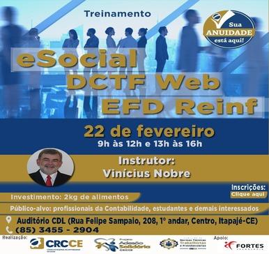 Treinamento: eSocial, DCTF Web e EFD Reinf – 22/02/2019 – Itapajé