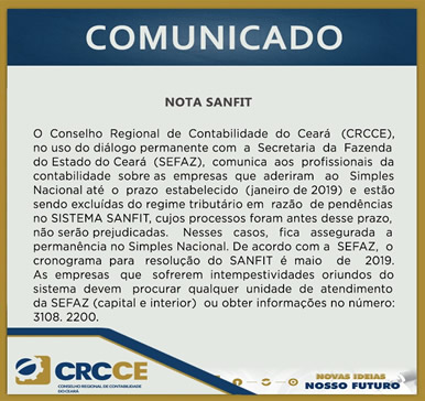 Comunicado – Nota SANFIT