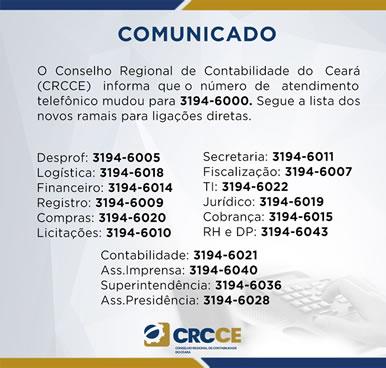 Comunicado Importante – Novo número Telefone do CRCCE