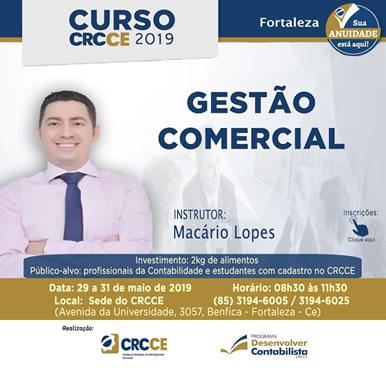 Curso – Gestão Comercial – 29 a 31 maio 2019 – Sede do CRCCE