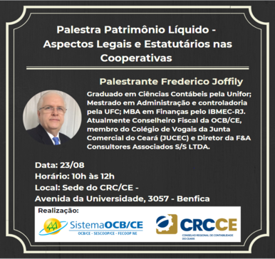 Palestra Patrimônio Líquido – Aspectos Legais e Estatutários nas Cooperativas – 23/08/2019 – Fortaleza