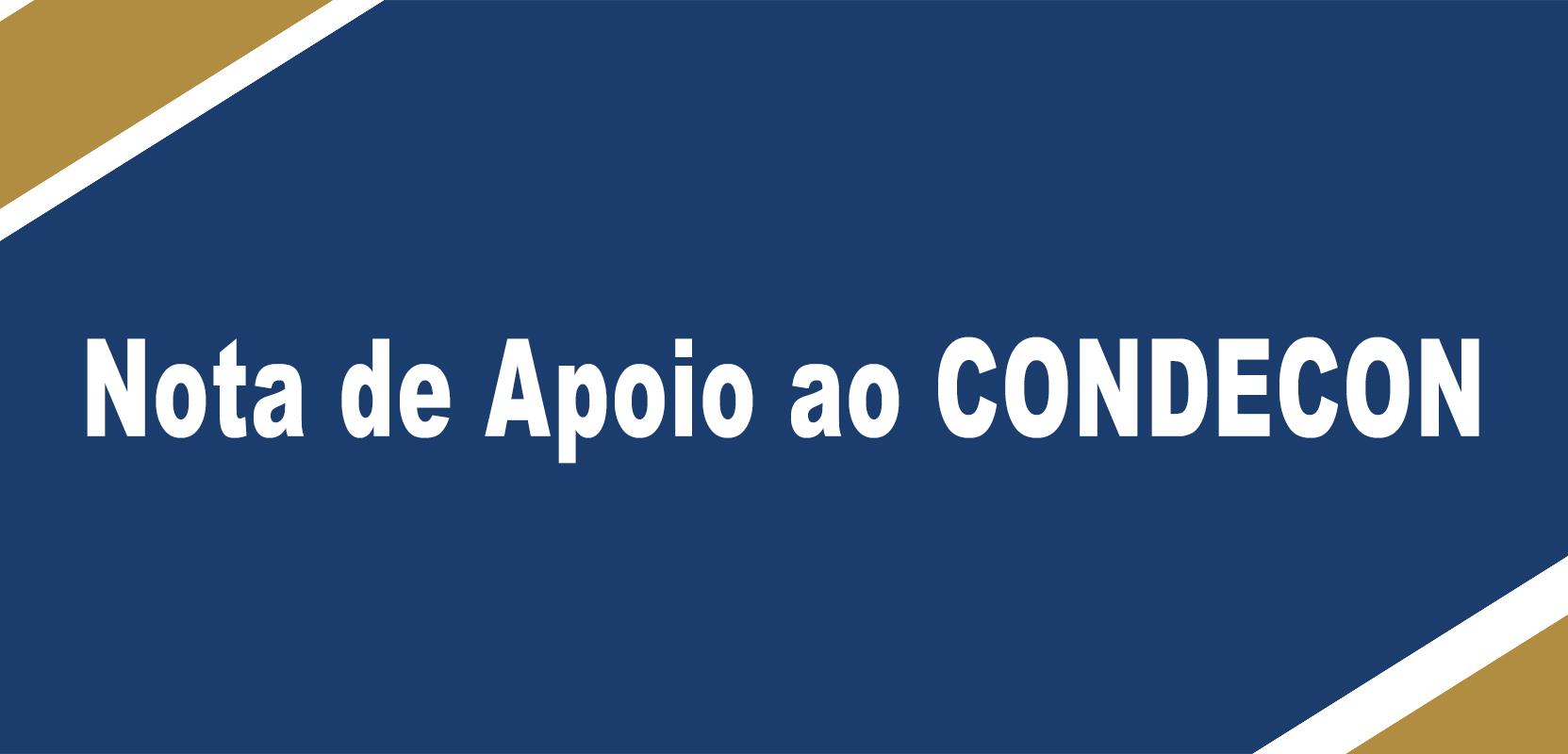 Nota de apoio do CONDECON