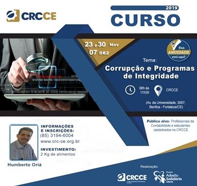 Curso: Corrupção e Programas de Integridade – 23 e 30/11 e 07/12/2019 – Fortaleza