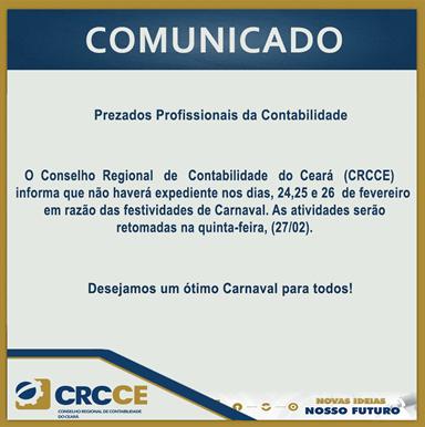 Comunicado Período Carnavalesco 2020 – CRCCE