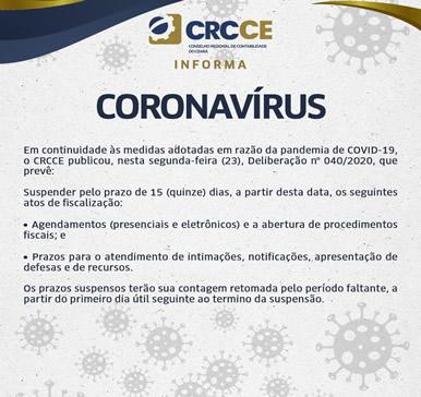 CRCCE – Informa Coronavírus – ATOS DE FISCALIZAÇÃO SUSPENSOS