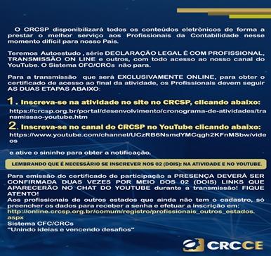 Veja os Conteúdos Eletrônicos – Parceria CRCSP com CRCCE