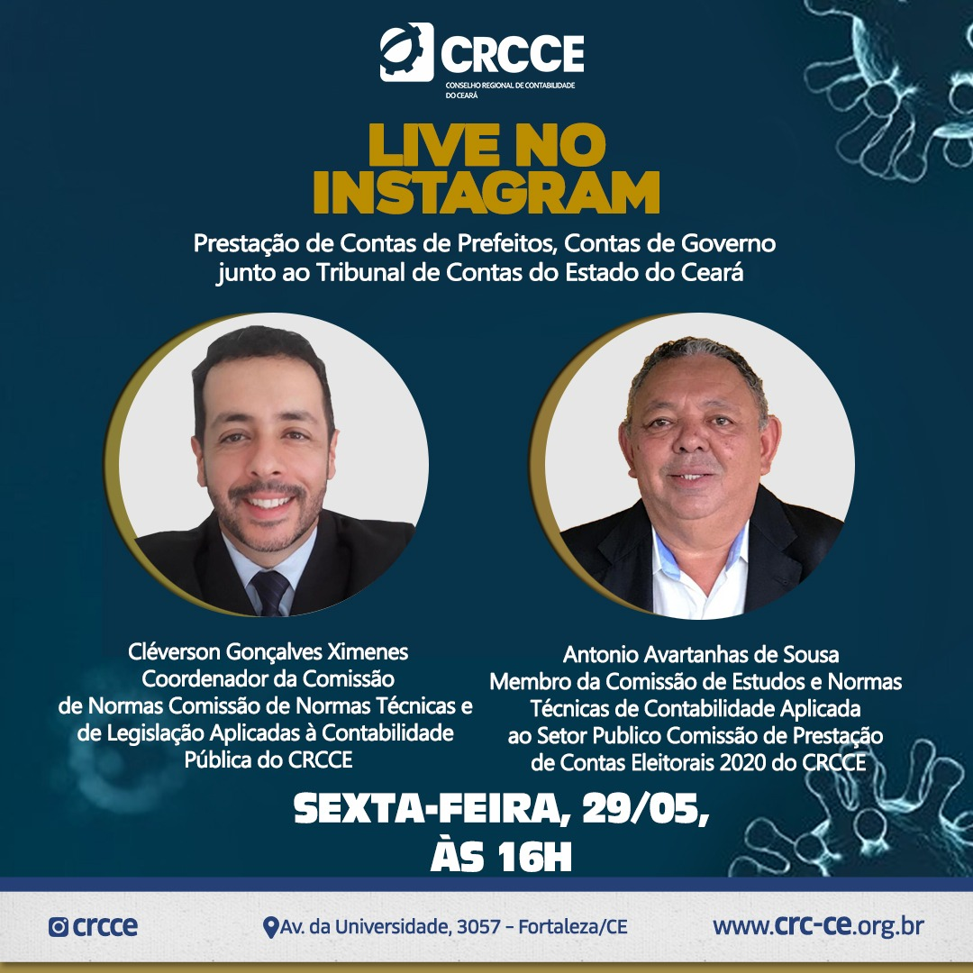 Live no Instagram – 29/05/2020 – 16 h