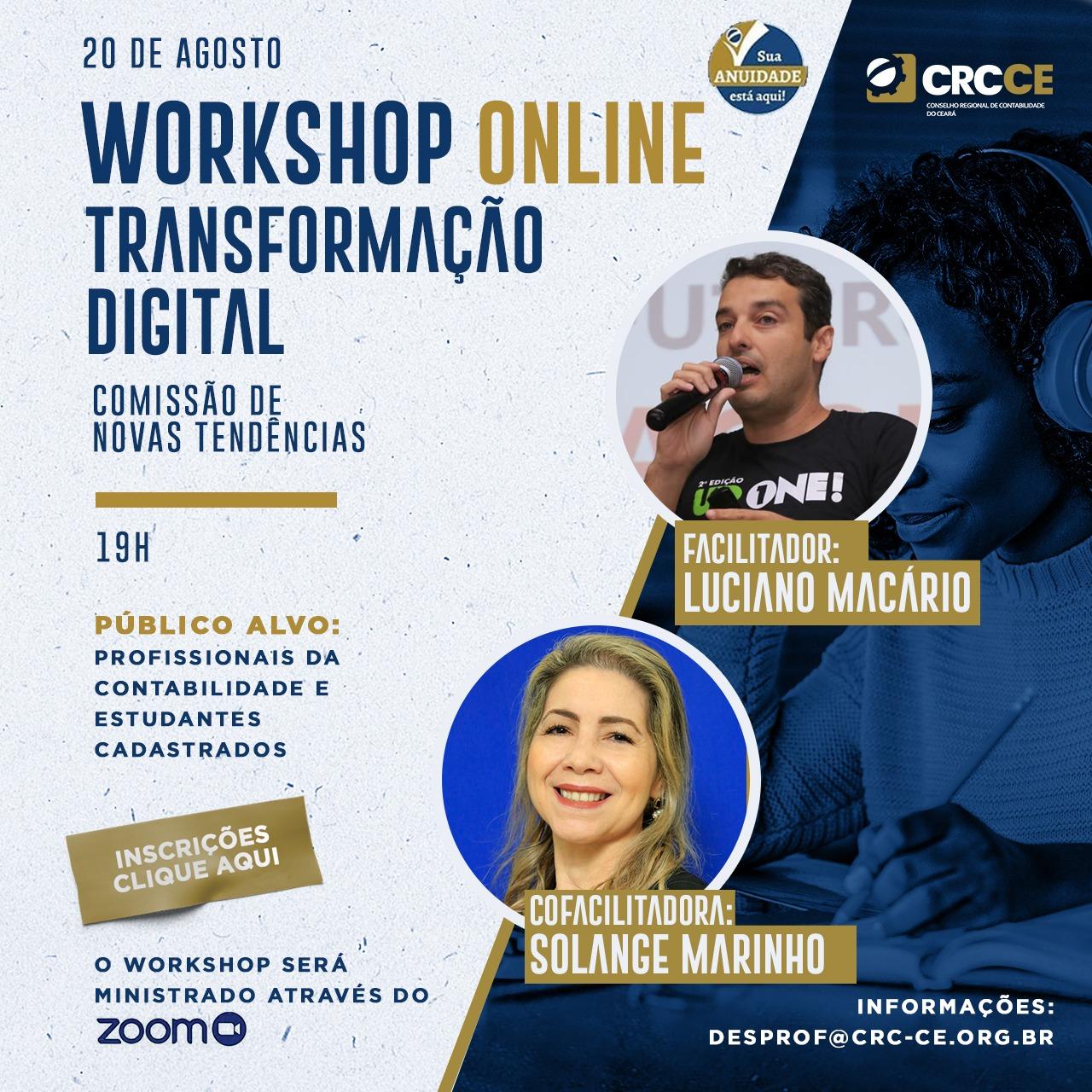 Workshop Online – Transformação Digital – Comissão de novas Tendências – 20/08/2020 – 19h