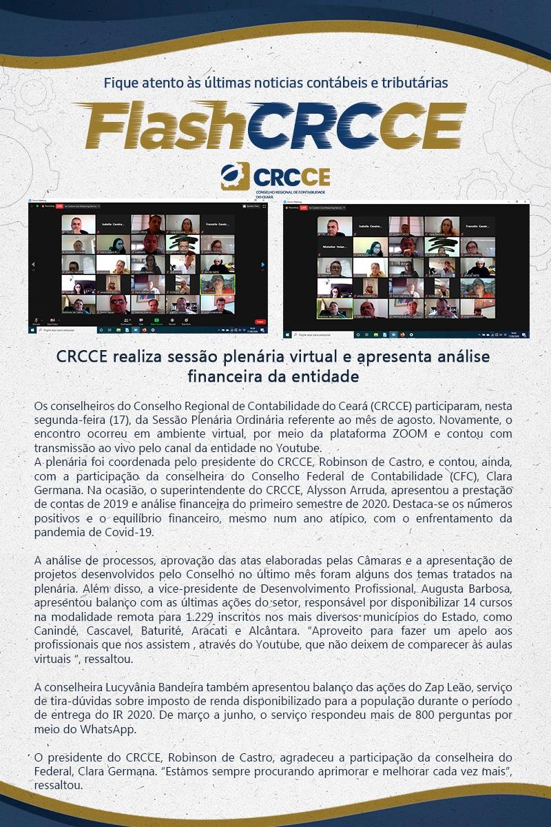 Flash – CRCCE realiza sessão plenária virtual e apresenta análise financeira da entidade