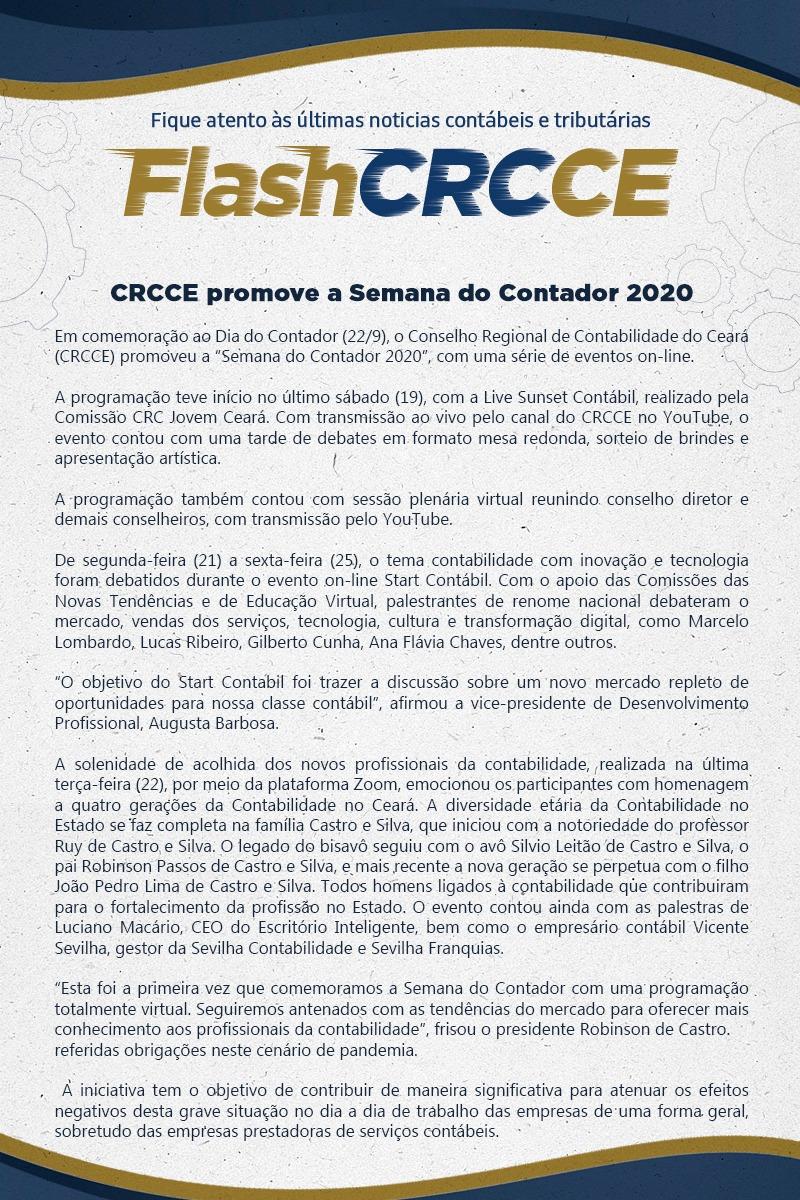 Flash – CRCCE promove a Semana do Contador 2020