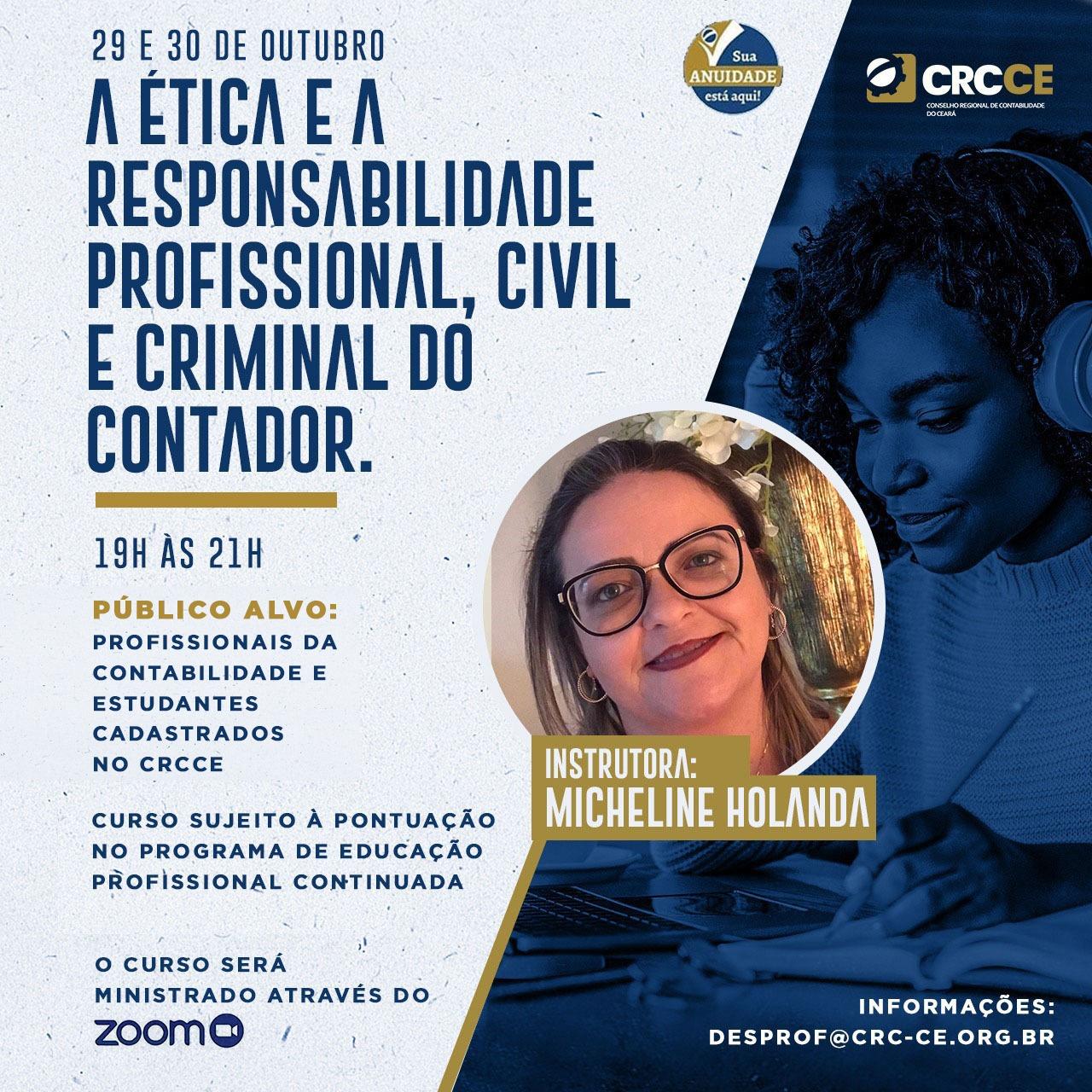 Curso: A ética e a responsabilidade profissional, civil e criminal do Contador – 29 e 30/10/2020