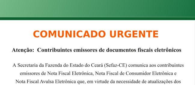 SEFAZ CE Comunicado: Atenção contribuintes emissores de documentos fiscais eletrônicos