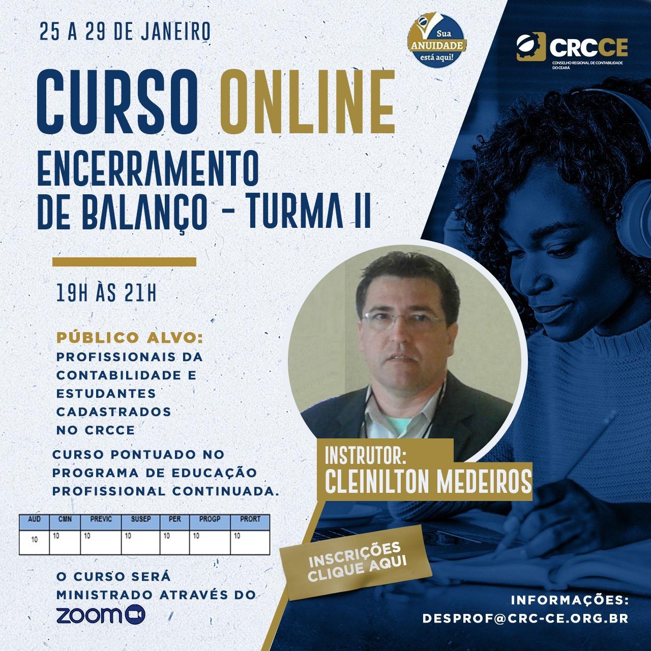 Curso Online: Encerramento de Balanço – Turma II – 25 a 29/01/2021