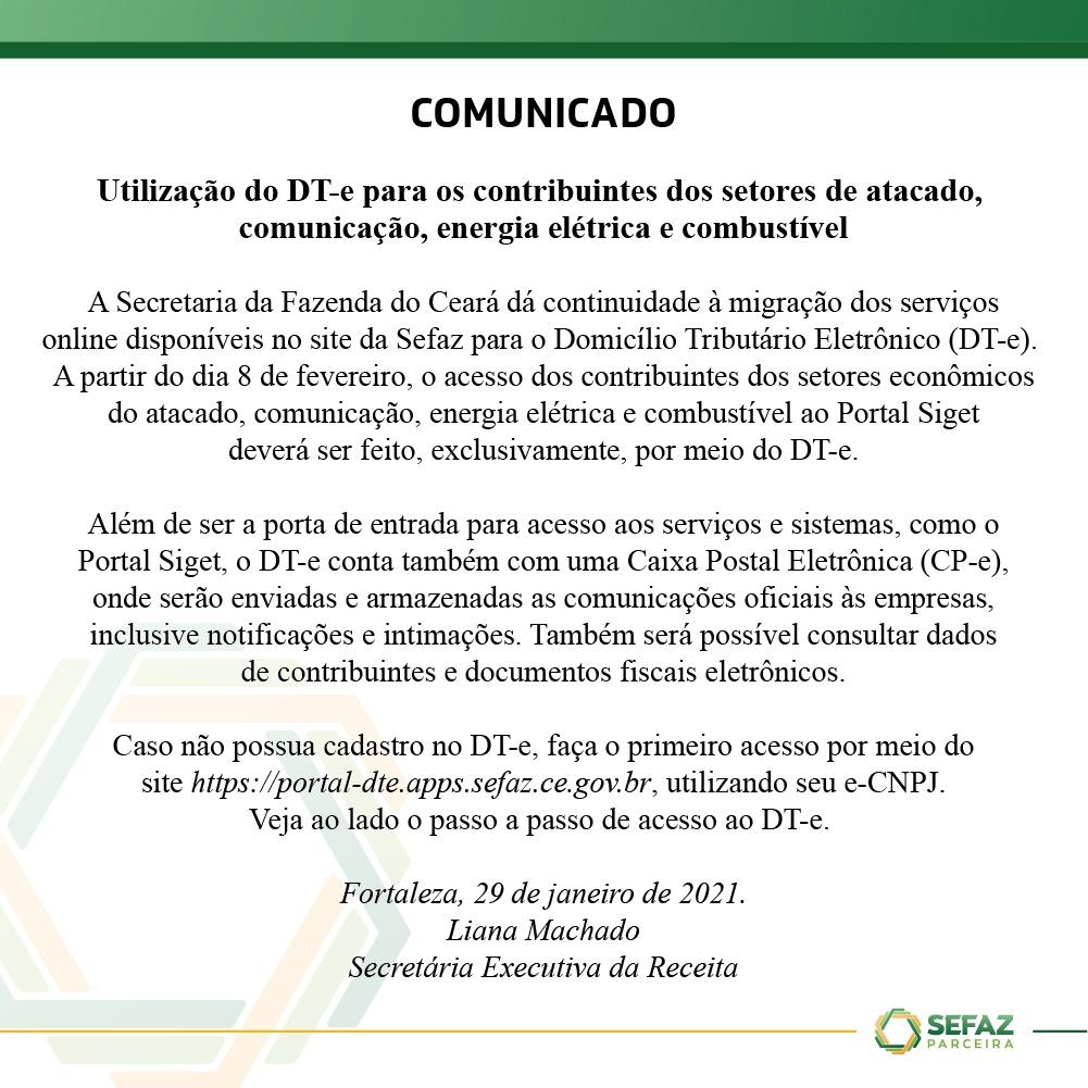 Domicílio Tributário Eletrônico – DT-e será porta de entrada aos serviços e sistemas da Sefaz