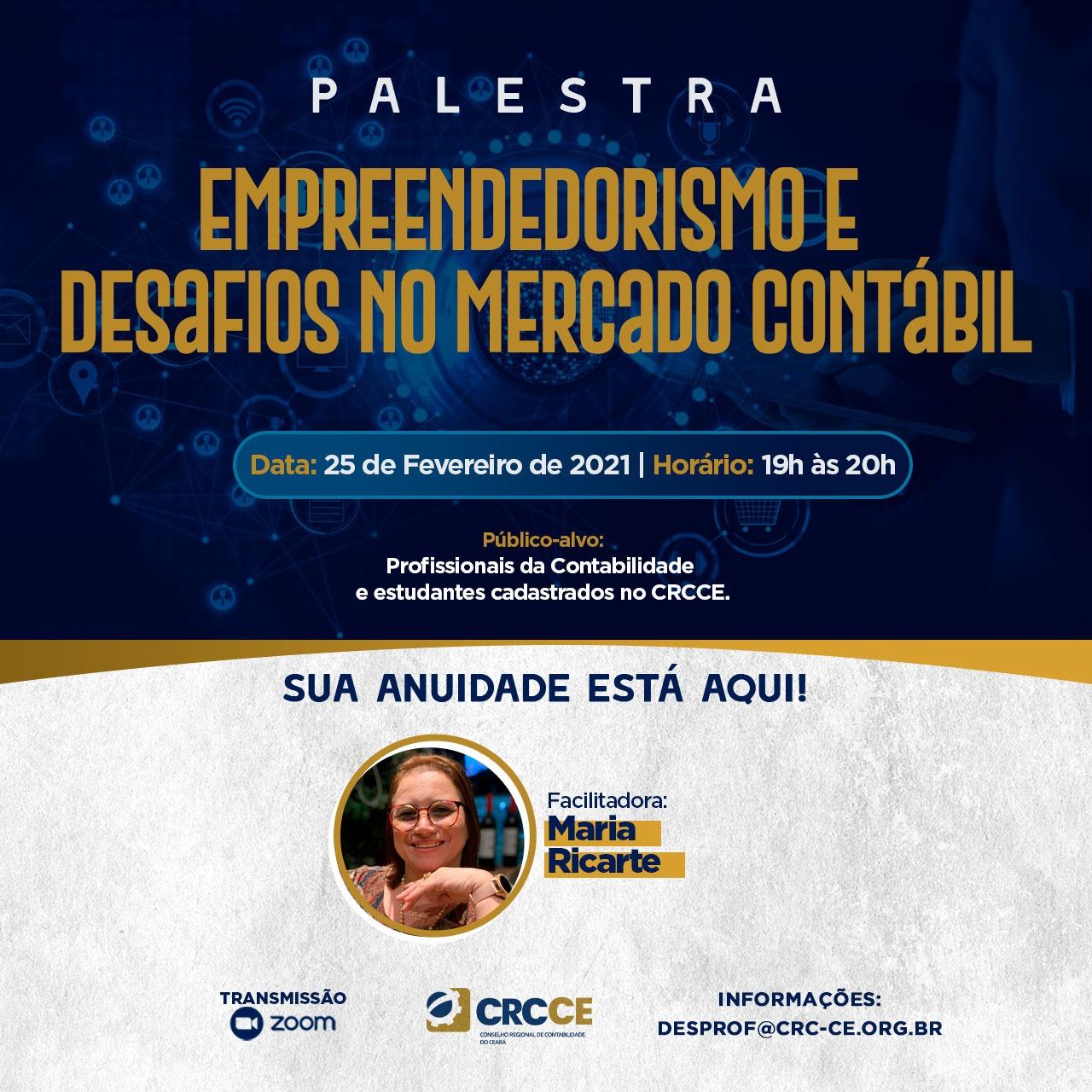 Palestra Empreendedorismo e desafios no mercado Contábil – 25.02.2021 – 19h a 20h