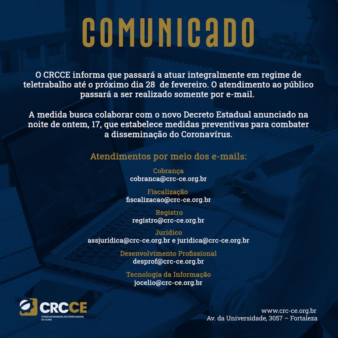 Comunicado – CRCCE funcionará até o dia 28/02/2021 integralmente em regime de Teletrabalho