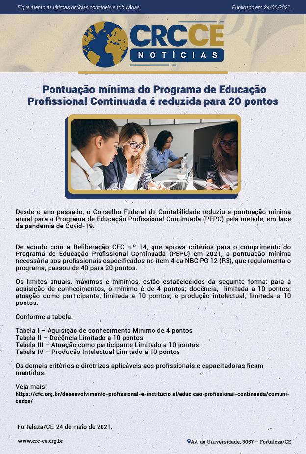 CRCCE Notícias – Pontuação mínima do Programa de Educação Profissional Continuada é reduzida para 20 pontos.