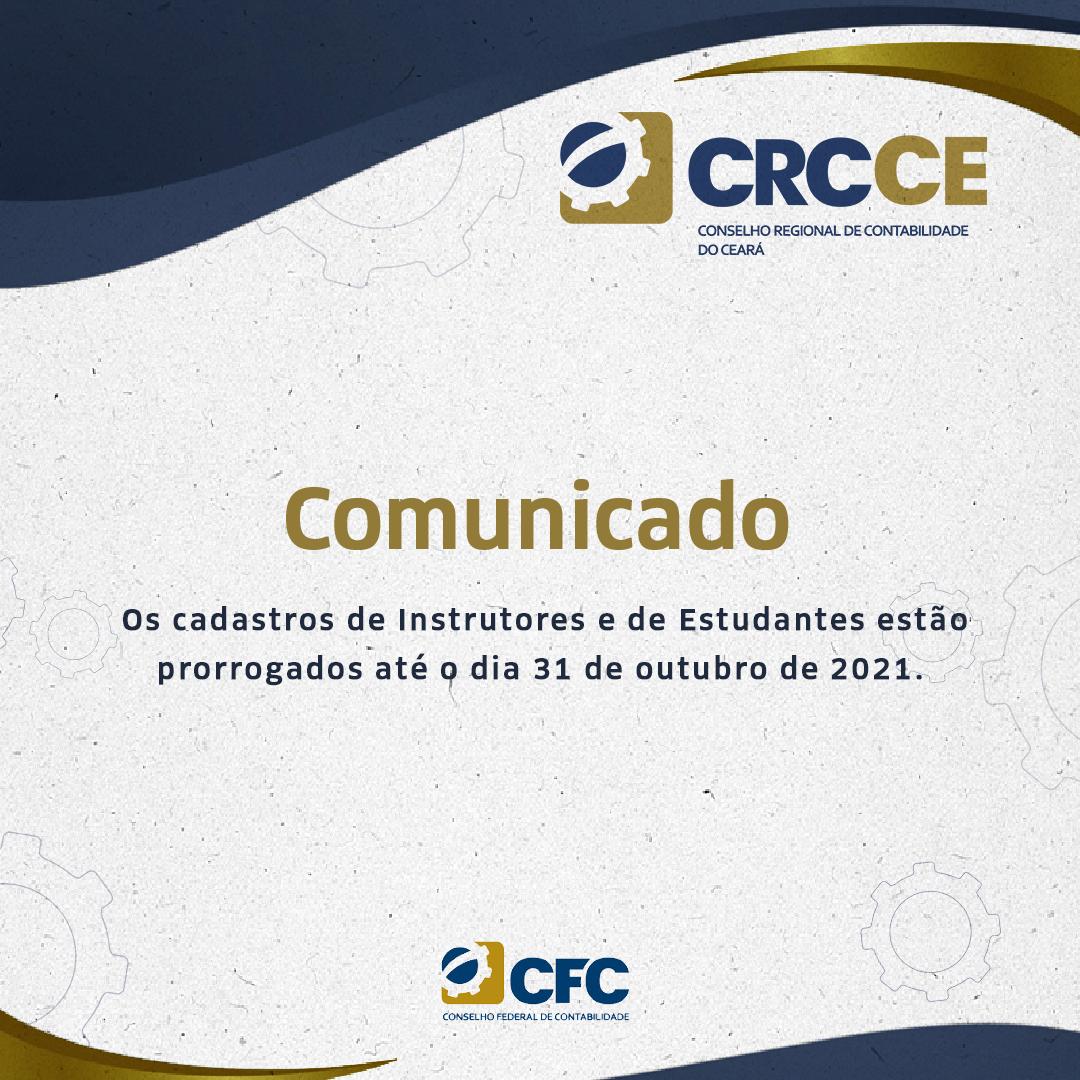Comunicado Cadastro de Instrutores e Estudantes 2021 – prorrogado até 31/10/2021