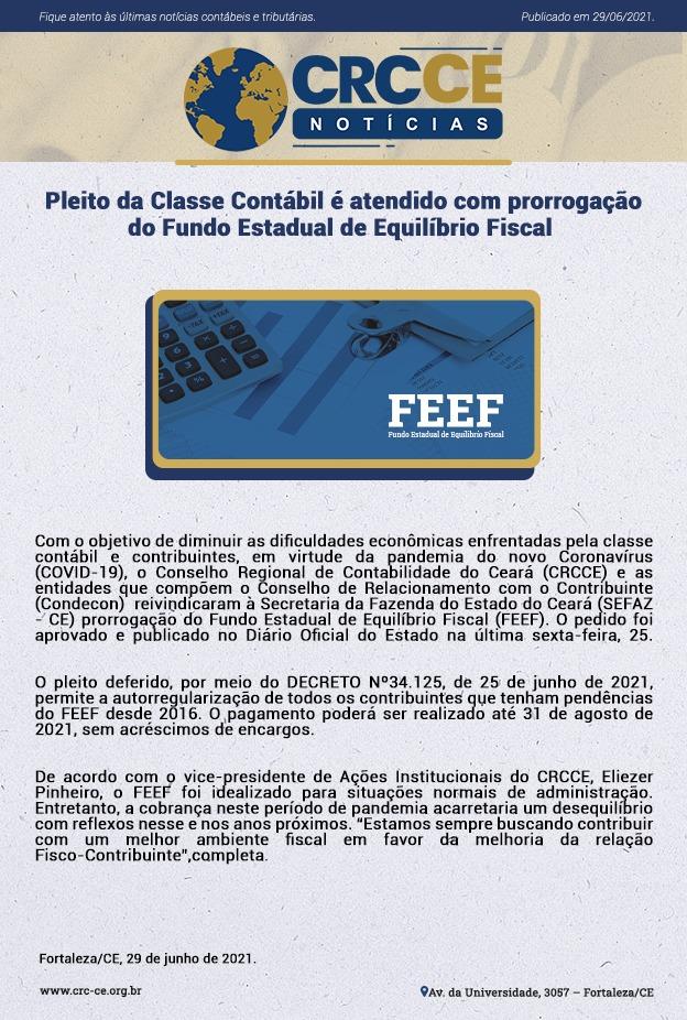 CRCCE Notícias – Pleito da Classe Contábil é atendido com prorrogação do Fundo Estadual de Equilíbrio Fiscal