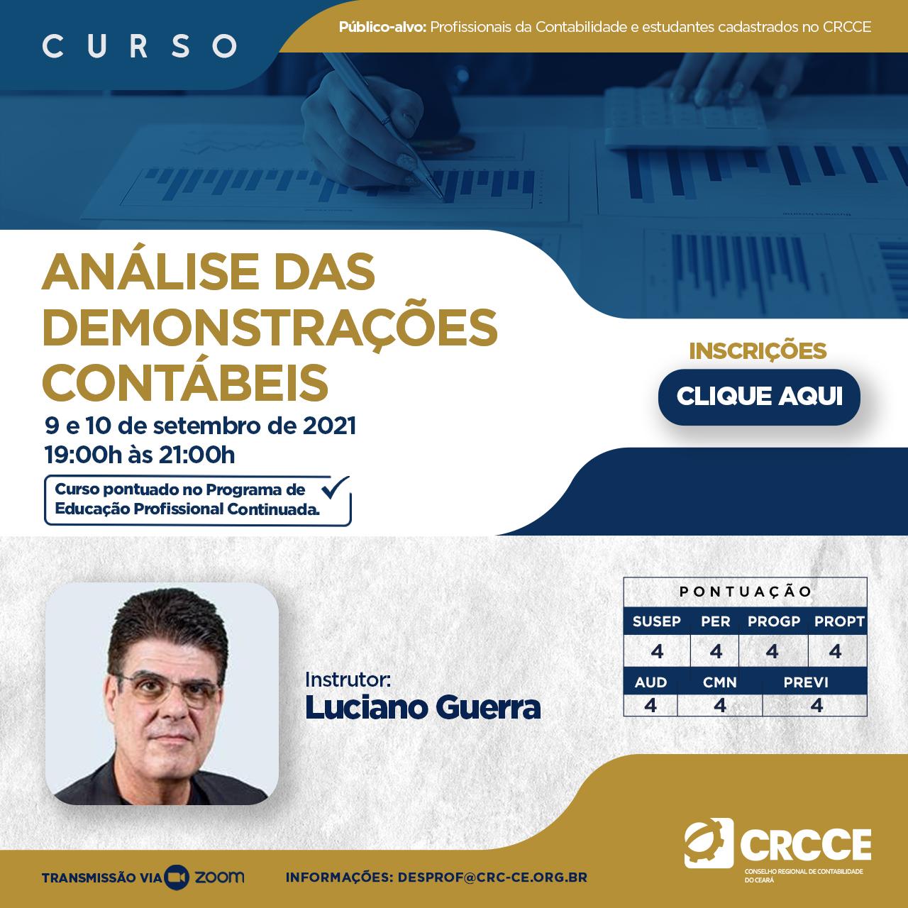 Curso Análise das Demonstrações Contábeis – 09 e 10/092021 – 19h às 21h – Transmissão via Zoom.