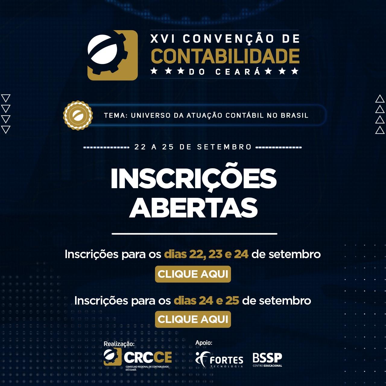 Inscrições XVI Convenção de Contabilidade do Ceará – 22 a 25 de Setembro