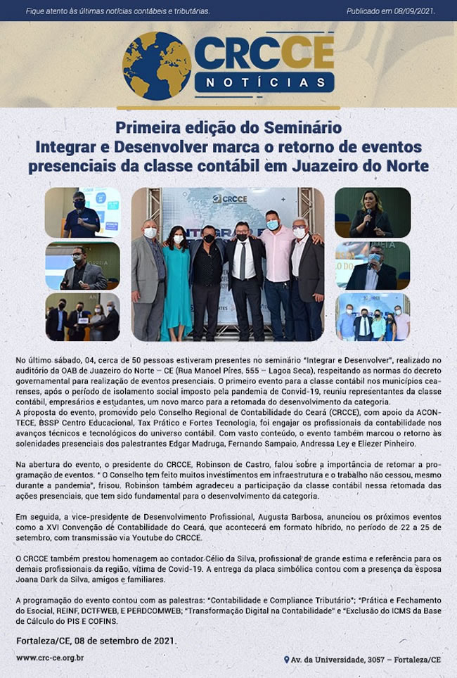 CRCCE Notícias – Primeira edição do Seminário Integrar e Desenvolver marca o retorno de eventos presenciais da classe contábil em Juazeiro do Norte