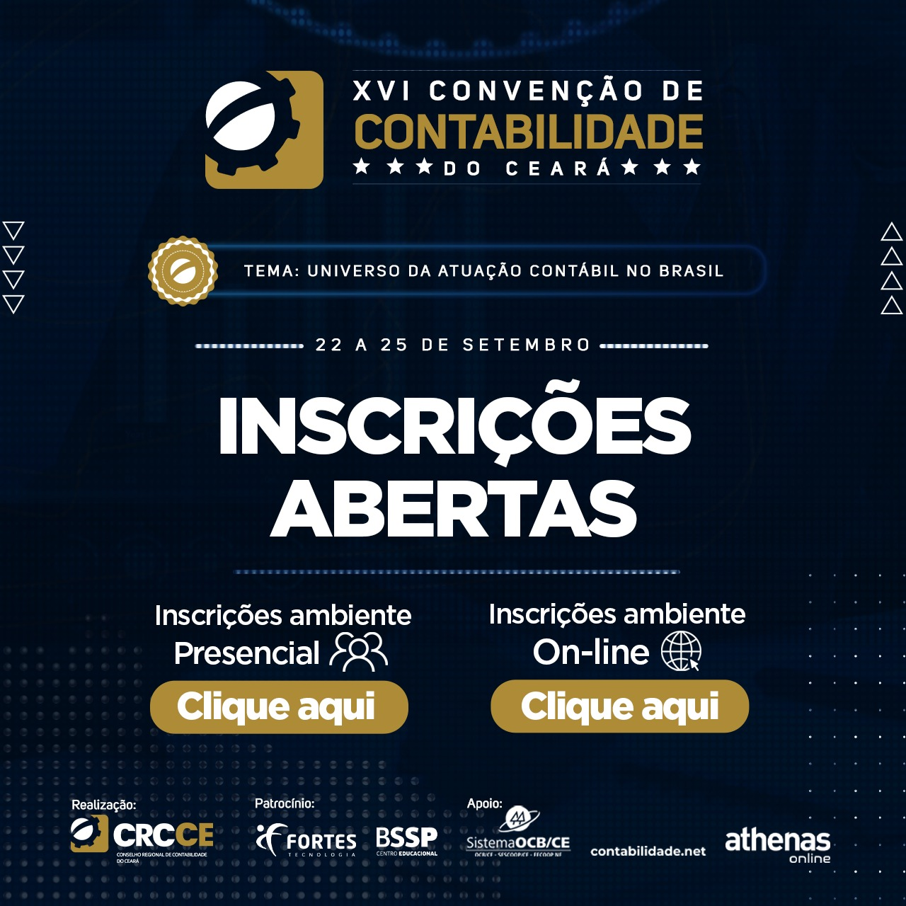Inscrições XVI Convenção de Contabilidade do Ceará – 22 a 25 de Setembro – Ambiente Presencial e On-Line – Confira a Programação completa