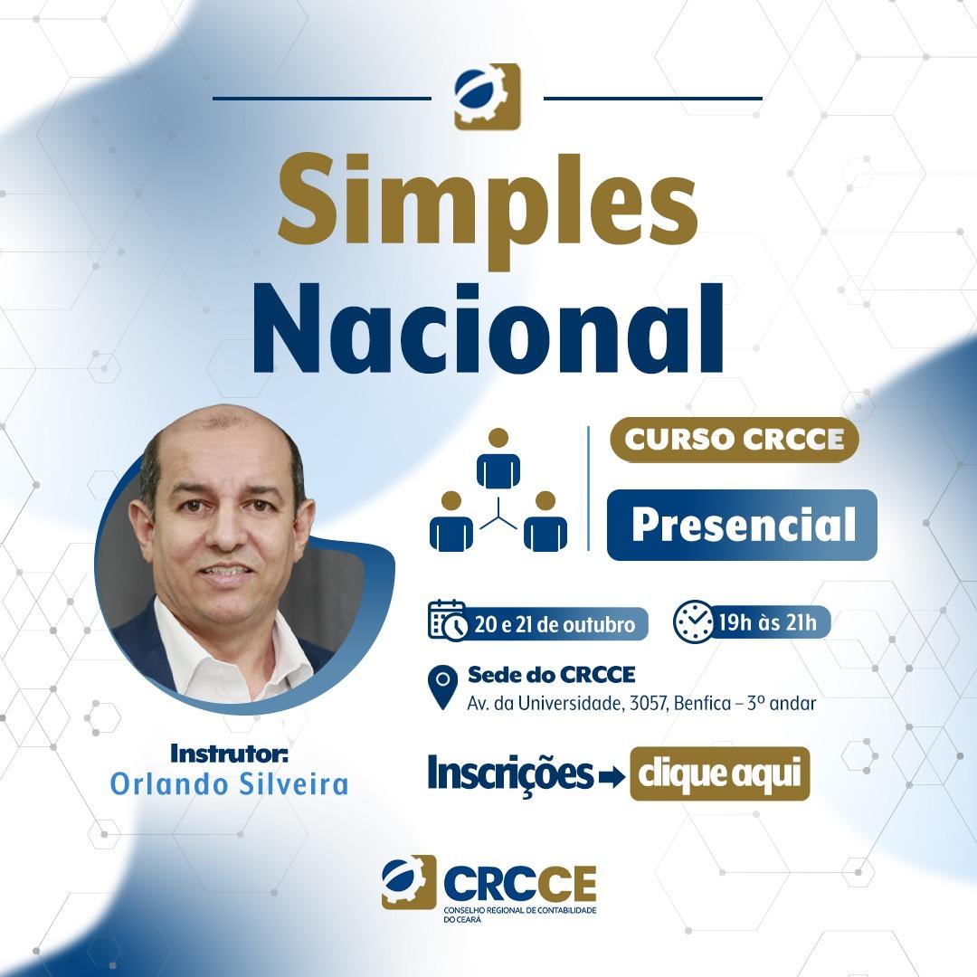 Curso: Simples Nacional – 20 e 21/10/2021 – 19h às 21h – Presencial